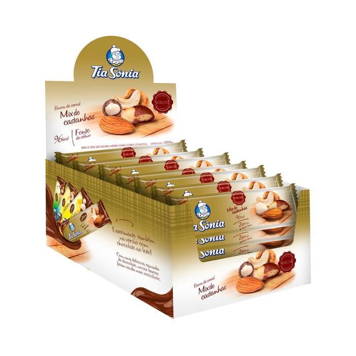 caixa de barras de cereal mix de castanhas 24 unidades